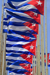 Row of Cuban flags flying in the wind
