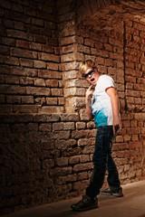 boy cool stone wall