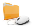 Computer mouse and yellow folder.  3D illustration isolated on w