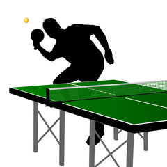 ping pong player silhouette three