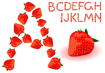 Vector strawberries alphabet on a white background