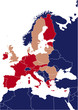 Blue map of europe with red highlited eurozone