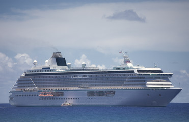 Cruise Ship on South Pacific Ocean