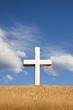 White Cross on Adobe Wall