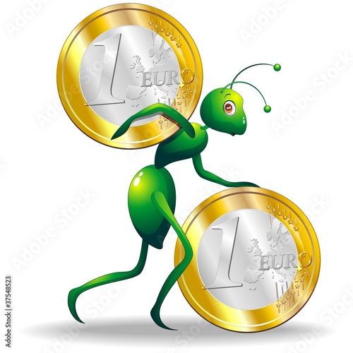 Formica Economia Moneta-Ant Economy Coin-Cartoon-Vector