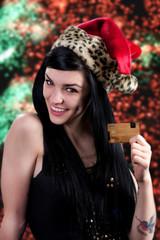 Christmas girl with credit card