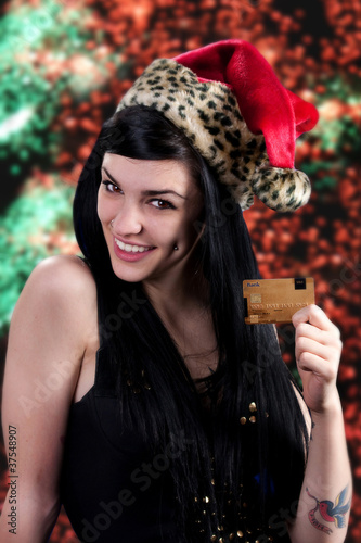 Christmas girl with credit card