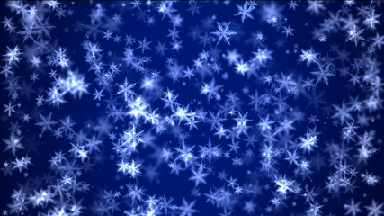 falling snow on blue background