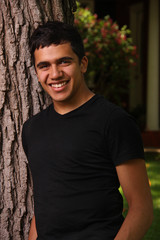 Young Man in Black Shirt Outdoor Portrait