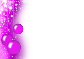 Christmas card with purple glass balls
