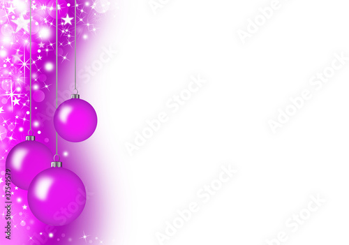 Christmas card with purple glass balls