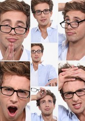 many facial expressions of a young employee