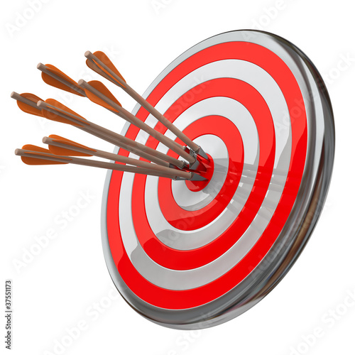Target with  arrows isolated on white backgound