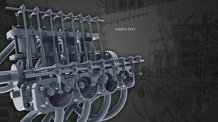 Engine 3d Technology Background. gray