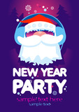 Fototapety New Year Party design template with Santa and place for text