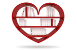 books with blank covers standing on the heart bookshelf isolated