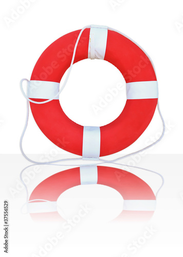 Red Life Buoy, Isolated On White Background,