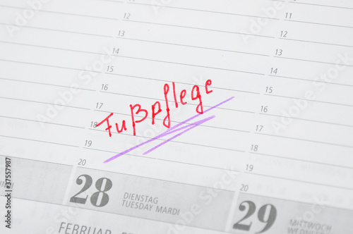 Fußpflege Termin im Kalender notiert