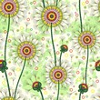 Seamless abstract flower pattern with dandelion. Vector