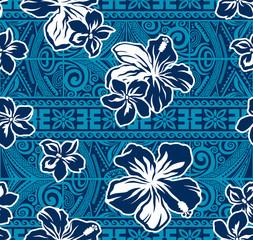 Hawaiian flowers  seamless pattern