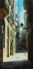 gothic quarter in barcelona, painting by oil on a canvas, illust