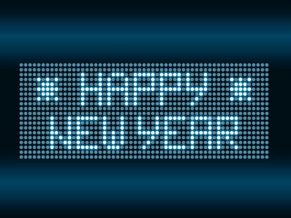 Happy New Year text with editable digital led lighting circles
