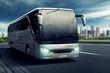Leinwanddruck Bild - Bus in front of big City