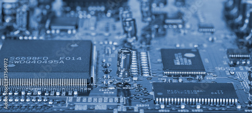 Computer mainboard with many electronic components - 37564972