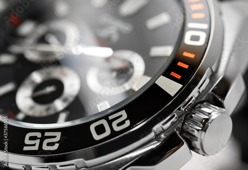 luxury man watch detail, chronograph close up - 37566565