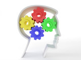 Human intelligence and brain function represented by gears in th