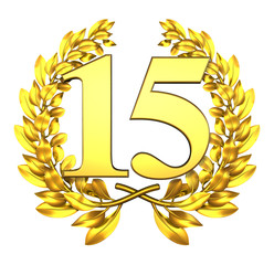 15 fifteen number laurel wreath