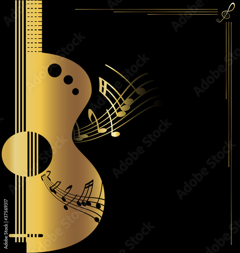 background golden guitar