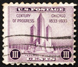 Postage stamp USA 1933 Federal building at Chicago