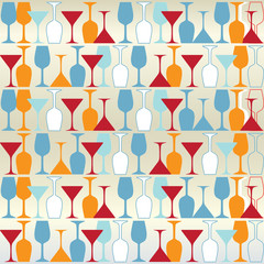 Vector background with bottles and wine glasses.
