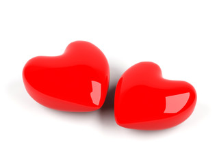 3d hearts isolated on white.