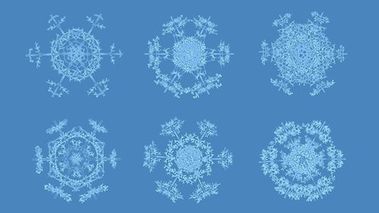Set of growing snowflakes with alpha