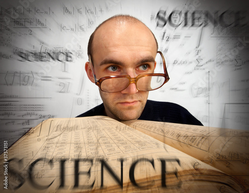 Pensive scientific mathematician