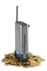 Wireless router and coins