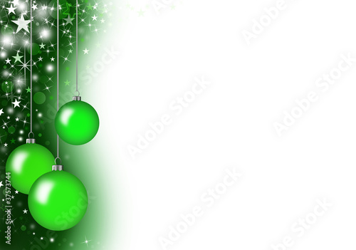 Christmas card with three green glass balls
