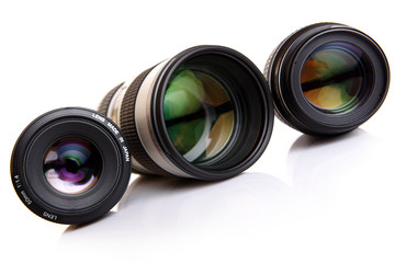 camera lenses on white background