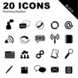 20 Icons Kommunikation schwarz