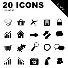 20 Icons Business schwarz