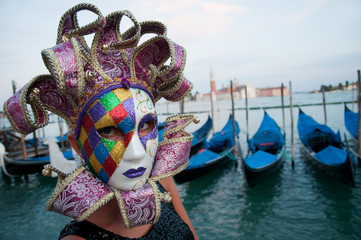 Carnival in Venice - beautiful girl in carnival mask