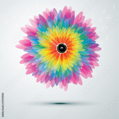 Big rainbow flower with speaker