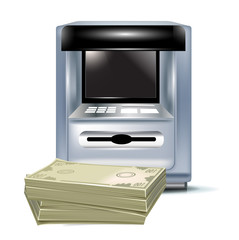 atm machine and pile of cash