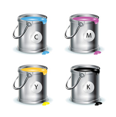 color print; individual buckets with paint