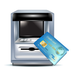 atm machine and credit card