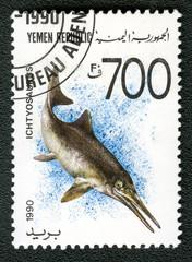 YEMEN REPUBLIC - CIRCA 1990: A stamp printed in Yemen shows Icht