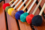 Coloured mallets on marimba