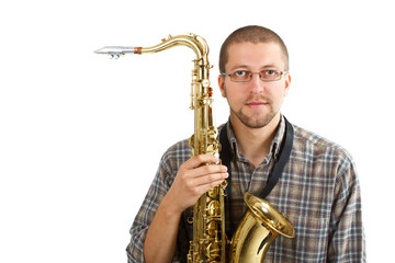 Young man with his saxophone